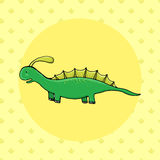 Dinosaurio lindo en estilo de la historieta con huella en fondo Imagenes de archivo