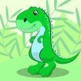 Dinosaurio lindo que se coloca en un prado y una sonrisa verdes Vector Imágenes de archivo libres de regalías