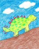 Dinosaurio a mano del niño Imagen de archivo libre de regalías
