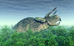 Dinosaurio Nasutoceratops en el bosque ilustración del vector