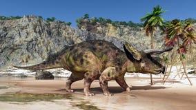Dinosaurio Nasutoceratops en la playa stock de ilustración