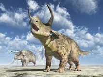 Dinosaurio Nasutoceratops en un paisaje ilustración del vector