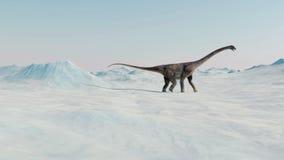 dinosaurio Paisaje prehistórico de la nieve, valle del hielo con los dinosaurios Visión ártica ilustración del vector