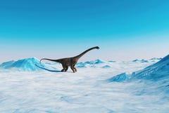 dinosaurio Paisaje prehistórico de la nieve, valle del hielo con los dinosaurios Visión ártica stock de ilustración