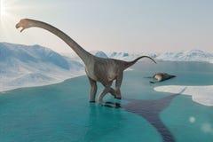 dinosaurio Paisaje prehistórico de la nieve, valle del hielo con los dinosaurios Visión ártica Foto de archivo libre de regalías