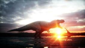 dinosaurio Período prehistórico, paisaje rocoso Salida del sol de Wonderfull Animación realista 4K ilustración del vector