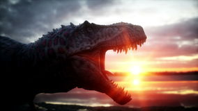 dinosaurio Período prehistórico, paisaje rocoso Salida del sol de Wonderfull Animación realista 4K libre illustration
