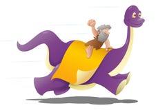 Dinosaurio prehistórico del montar a caballo del hombre de cueva Fotografía de archivo