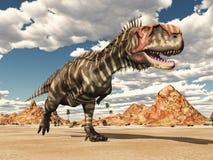 Dinosaurio Rajasaurus en el desierto