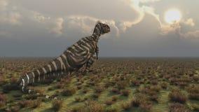 Dinosaurio Rajasaurus en la puesta del sol ilustración del vector