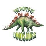 Dinosaurio realista de la acuarela Fotografía de archivo