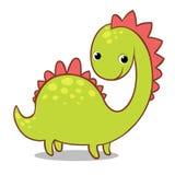 Dinosaurio sonriente lindo en un fondo blanco Foto de archivo