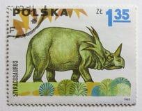 Dinosaurio (styracosaurus) en sello del poste de la vendimia Fotografía de archivo libre de regalías