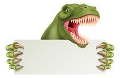 Dinosaurio T Rex Holding Sign Cartoon stock de ilustración