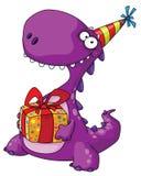 Dinosaurio y un regalo stock de ilustración