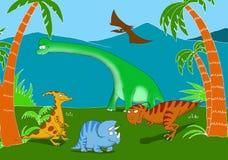 Dinosaurios amistosos y sonrientes en un paisaje prehistórico Imagenes de archivo