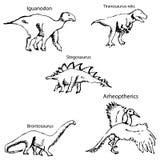 Dinosaurios con nombres Bosquejo del lápiz a mano stock de ilustración