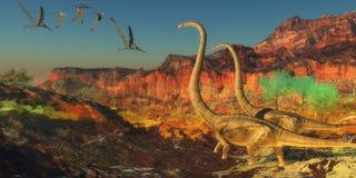 Dinosaurios de Omeisaurus ilustración del vector