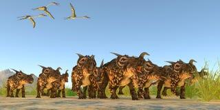Dinosaurios del Einiosaurus Imágenes de archivo libres de regalías