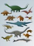 Dinosaurios del estilo de la historieta Fotografía de archivo