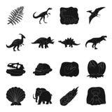 Dinosaurios e iconos prehistóricos del sistema en estilo negro Colección grande de dinosaurios y de acción prehistórica del símbo Imagen de archivo libre de regalías