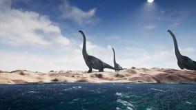 Dinosaurios en período prehistórico en paisaje de la arena Realista rinda 4K stock de ilustración