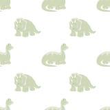 Dinosaurios Fondo blanco inconsútil Imagen de archivo libre de regalías