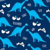 Dinosaurios, huesos, y huevos divertidos de la historieta con los bebés stock de ilustración