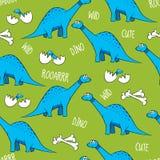Dinosaurios, huesos, y huevos divertidos de la historieta con los bebés libre illustration