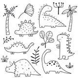 Dinosaurios lindos y plantas tropicales imagen de archivo