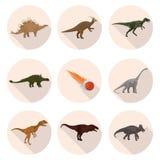 Dinosaurios planos de los iconos Imágenes de archivo libres de regalías