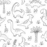 Dinosaurios y plantas prehistóricas Modelo inconsútil del vector en estilo del garabato y de la historieta libre illustration
