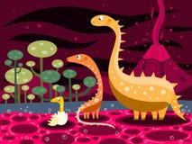 Dinosaurios y volcán Imágenes de archivo libres de regalías