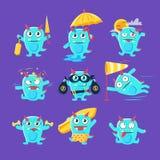 Dinosauro blu nelle situazioni differenti illustrazione di stock