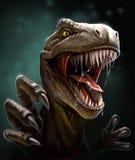 Dinosauro con i denti e gli artigli, primo piano Fotografia Stock Libera da Diritti