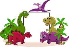 Dinosauro con il segno in bianco Fotografia Stock Libera da Diritti