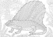 Dinosauro del dimetrodon di Zentangle Fotografia Stock