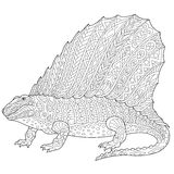Dinosauro del dimetrodon di Zentangle Immagini Stock Libere da Diritti