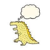 dinosauro del fumetto con la bolla di pensiero Fotografie Stock Libere da Diritti