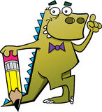 Dinosauro del fumetto con una matita e un'idea Fotografia Stock