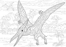 Dinosauro del pterodattilo di Zentangle Fotografia Stock Libera da Diritti