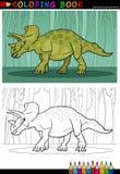 Dinosauro del triceratopo del fumetto per il libro da colorare Fotografia Stock Libera da Diritti