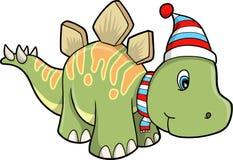 Dinosauro dello stegosaurus di festa di natale illustrazione vettoriale