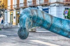 Dinosauro descritto in una mostra tenuta in Cosenza, Italia fotografia stock