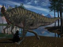 Dinosauro di Saurolophus Angustirostris-3D illustrazione di stock