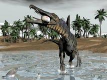 Dinosauro di Spinosaurus che mangia pesce - 3D rendono royalty illustrazione gratis