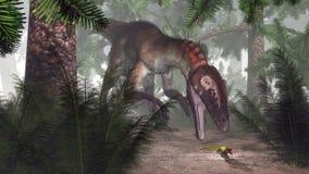 Dinosauro di Utahraptor che cerca un geco - 3D rendono Fotografie Stock Libere da Diritti