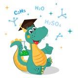 Dinosauro divertente che sperimenta con i prodotti chimici e la formula su un fondo bianco Illustrazioni di vettore della scuola  Fotografia Stock