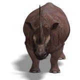 Dinosauro Elasmotherium. rappresentazione 3D con Fotografia Stock Libera da Diritti