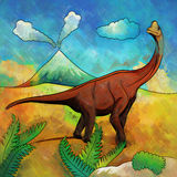 Dinosauro nell'habitat Illustrazione di Brachiosaur Fotografia Stock Libera da Diritti